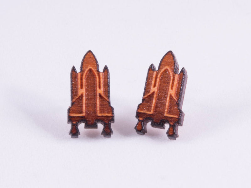 Spaceship / Rocketship Engraved Wood Earrings