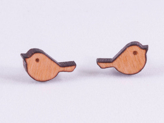 Tiny Bird Engraved Wood Earrings - Hypoallergenic Titanium