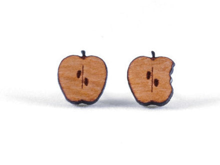 Bitten Apple Wood Earrings