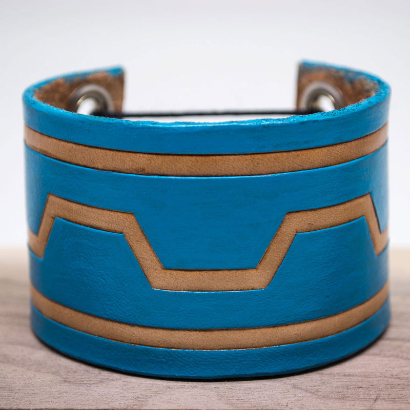 Turquoise Industrial-Tribal Leather Bracelet