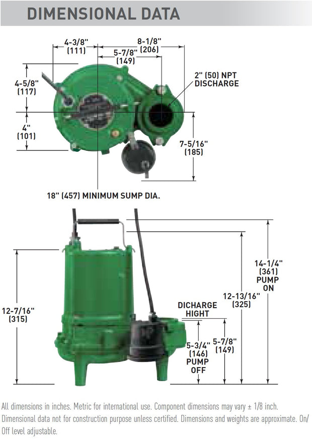 Hydromatic Pump :: Model SP50ACI1  Submersible Sewage Pump 1/2HP 115V 1PH Automatic 20' Cord
