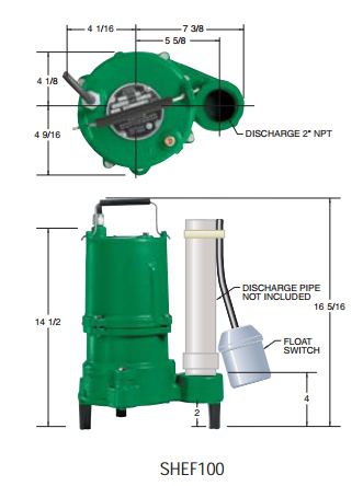 Hydromatic Pump :: Model SHEF100A2 Submersible Effluent Pump 1HP 230V 1PH Automatic 20' Cord