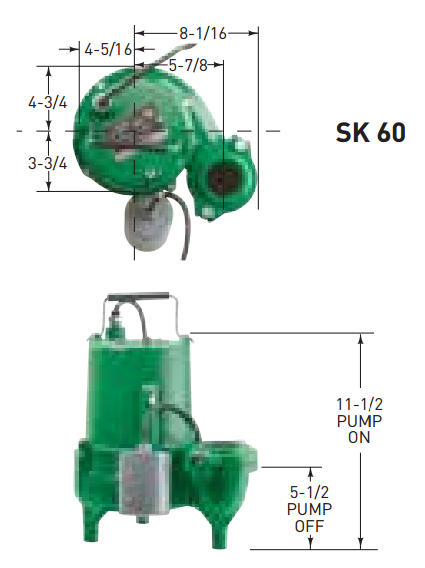 Hydromatic Pump :: Model SK60A1 Submersible Sewage Pump 6/10HP 115V 1PH Automatic 20' Cord