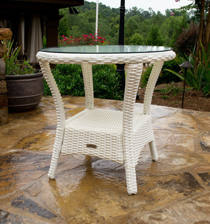 Bayview All Weather Wicker Side Table Tortuga Outdoor Home - All weather wicker side table