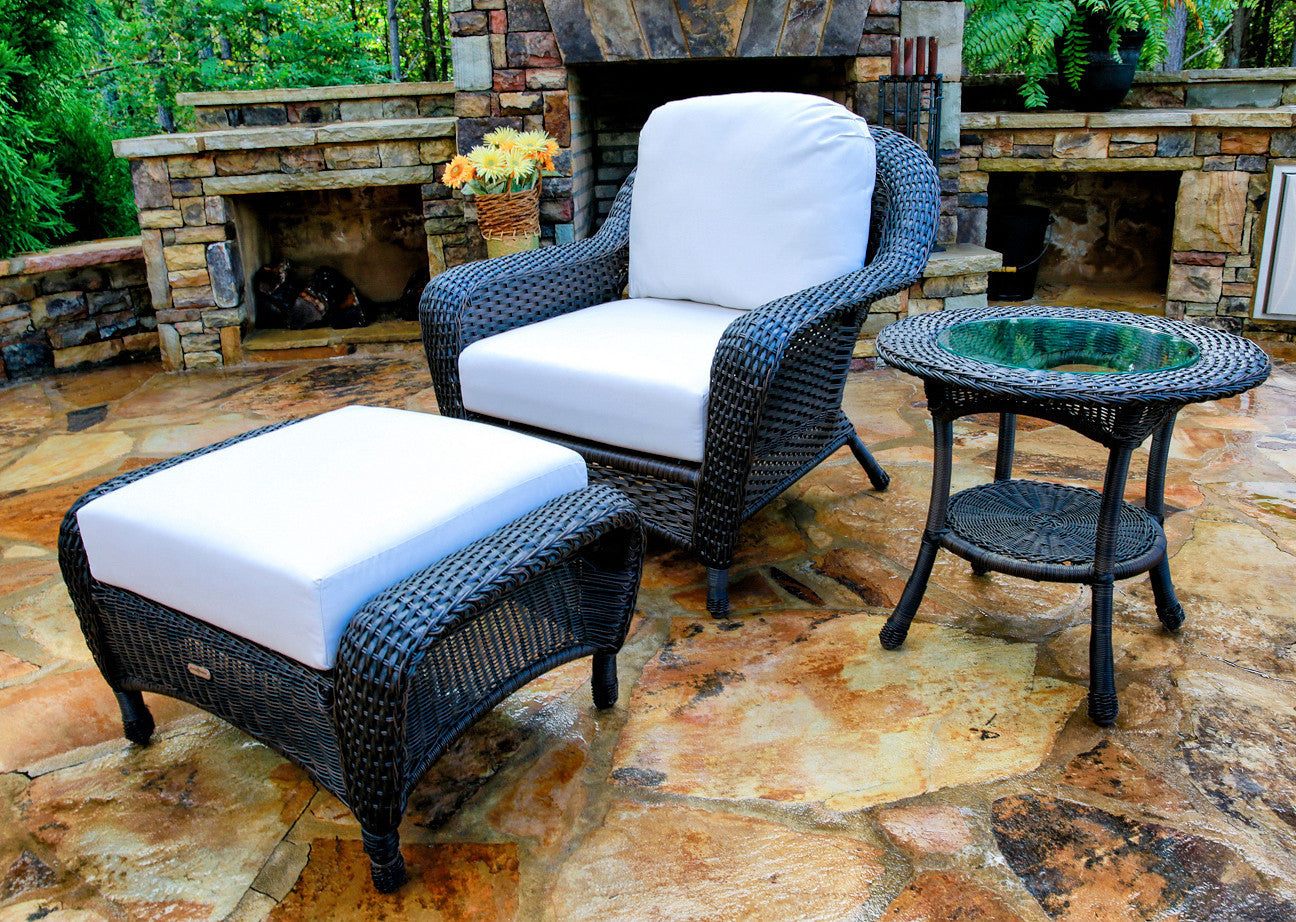 ... The Lexington All Weather Wicker Club Chair, Ottoman U0026 Side Table  Bundle   Tortuga Outdoor ...