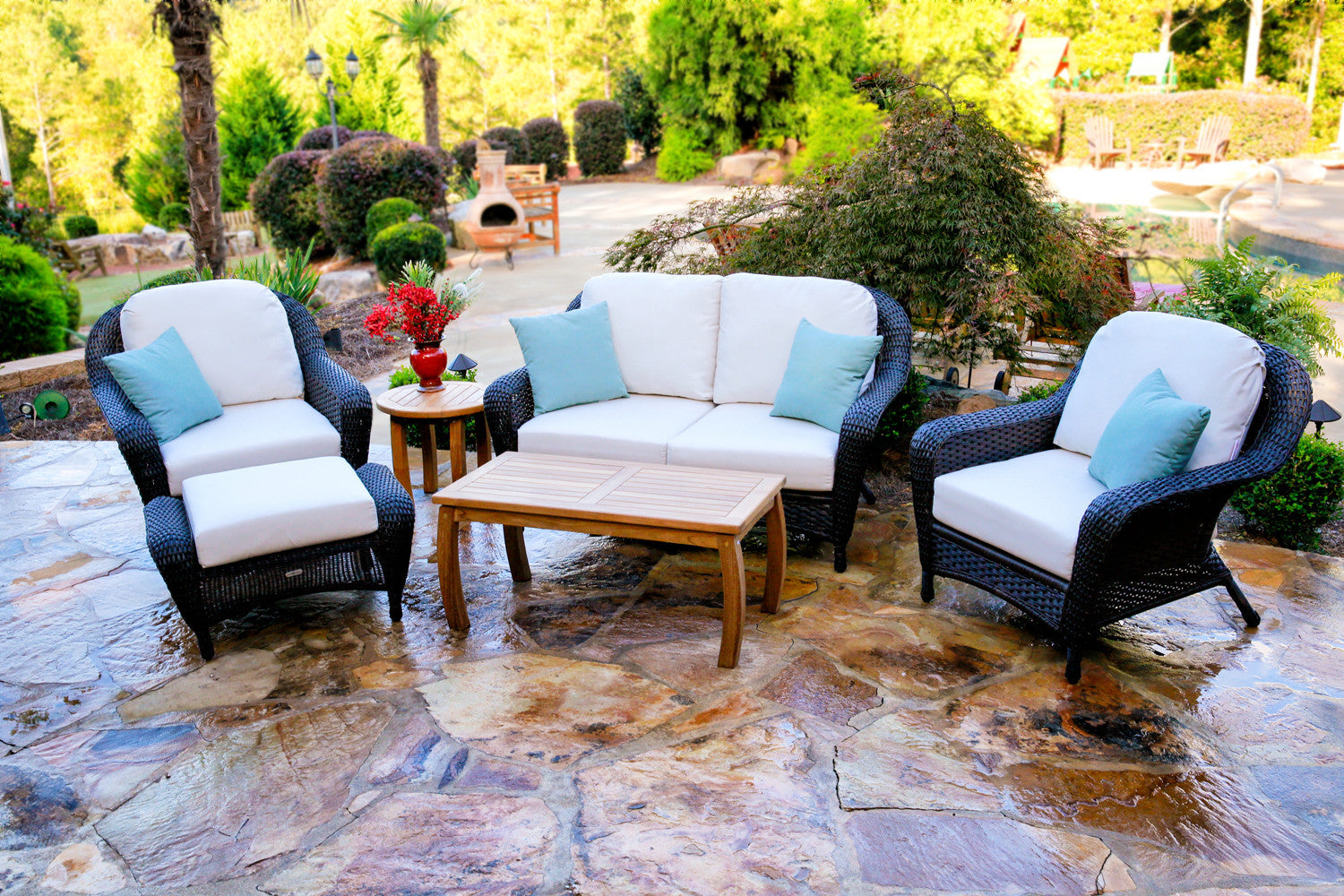 the lexington 6piece all weather wicker deep seating loveseat set with jakarta teak rectangle