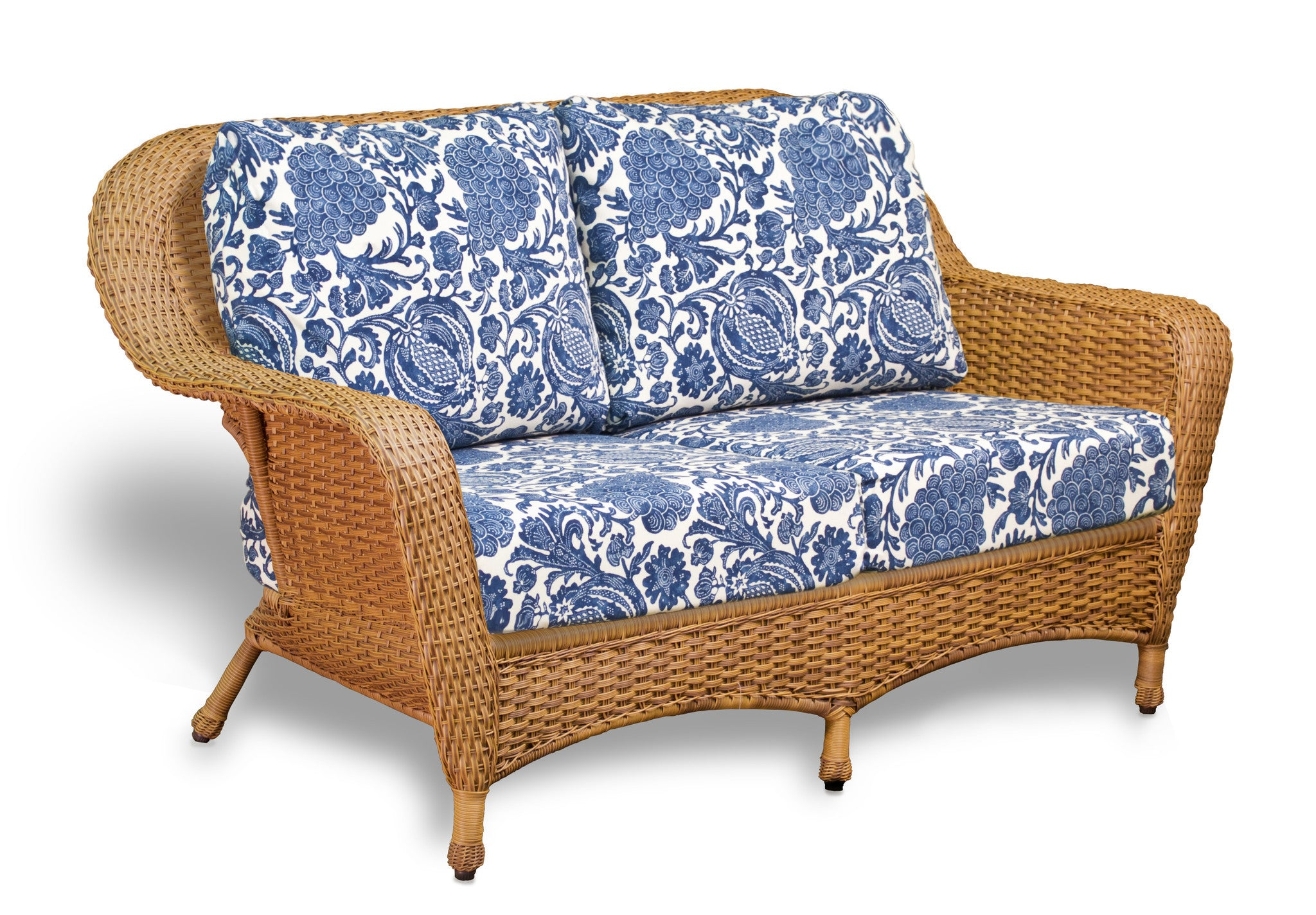 the lexington 6piece all weather wicker deep seating loveseat set with jakarta teak rectangle coffee table tortuga outdoor