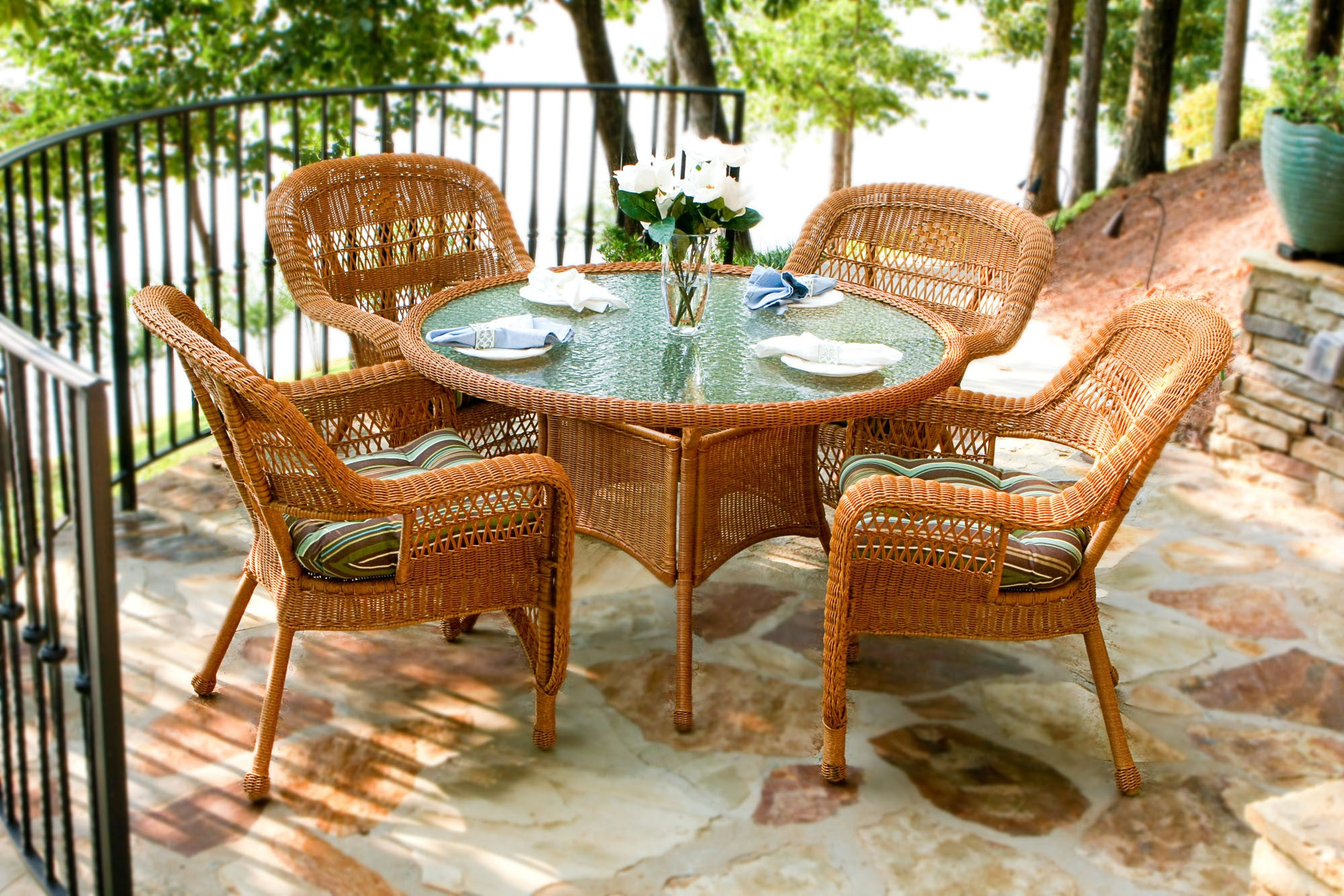 ... The Portside 5 Piece All Weather Wicker Dining Set   Tortuga Outdoor ...