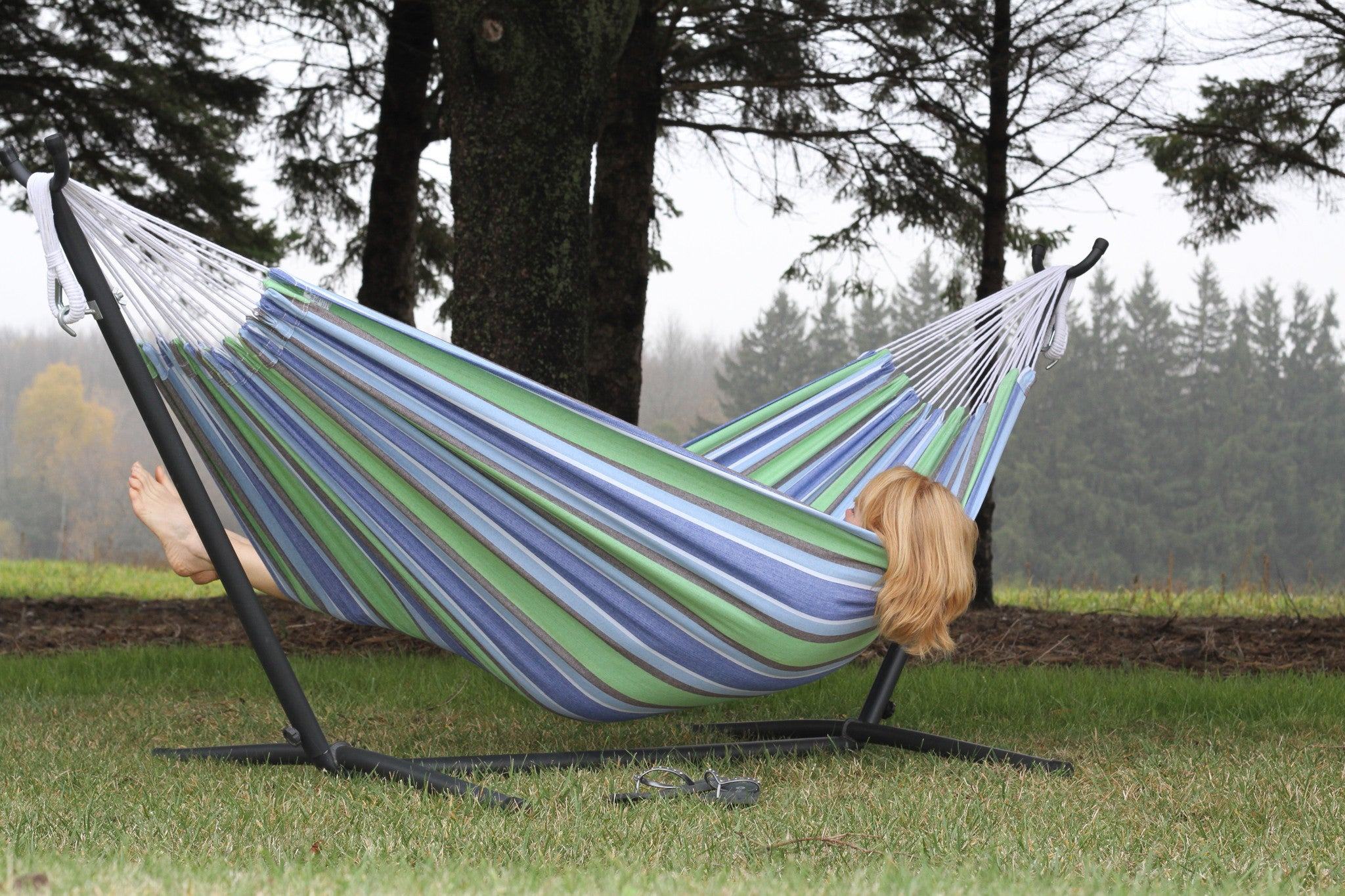 ... Oasis Double Cotton Hammock With Stand (9ft)   VIVERE ...