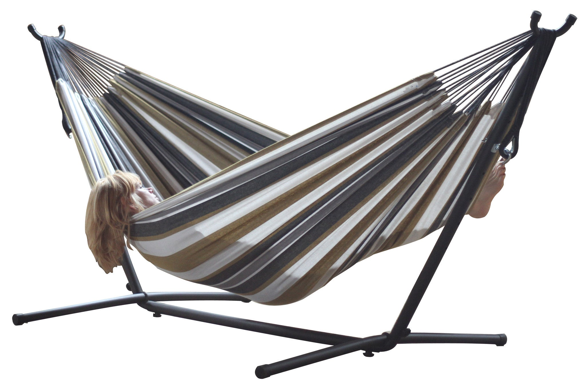 desert moon double cotton hammock with stand  9ft    vivere     vivere  bo double cotton hammock with space saving steel stand      rh   homeandpatioliving