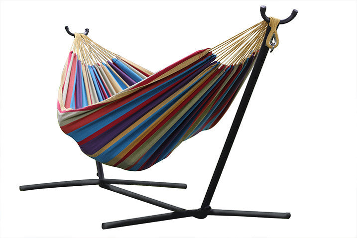 tropical double cotton hammock with stand  9ft    vivere     vivere  bo double cotton hammock with space saving steel stand      rh   homeandpatioliving