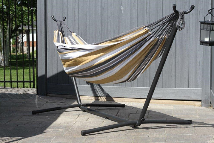 Vivere Combo Double Cotton Hammock With Space Saving Steel