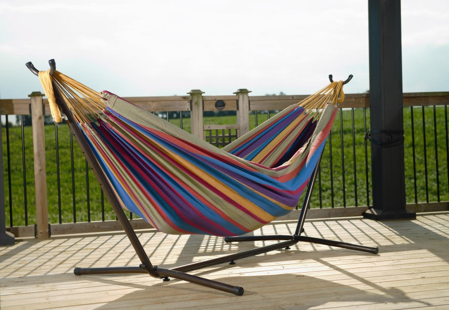 salsa double cotton hammock with stand  9ft    vivere     vivere  bo double cotton hammock with space saving steel stand      rh   homeandpatioliving