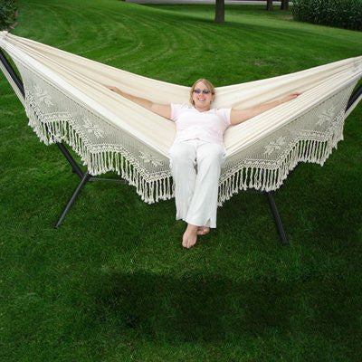 hand crocheted cotton fringe double hammock with stand   vivere hammocks without spreader bar   home  u0026 patio living  rh   homeandpatioliving