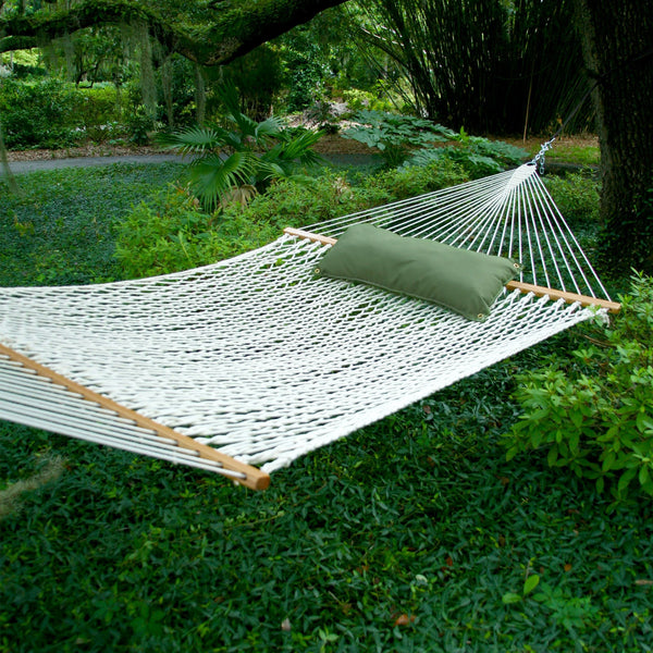 deluxe double original polyester rope hammock   pawleys island hammocks with spreader bar   home  u0026 patio living  rh   homeandpatioliving