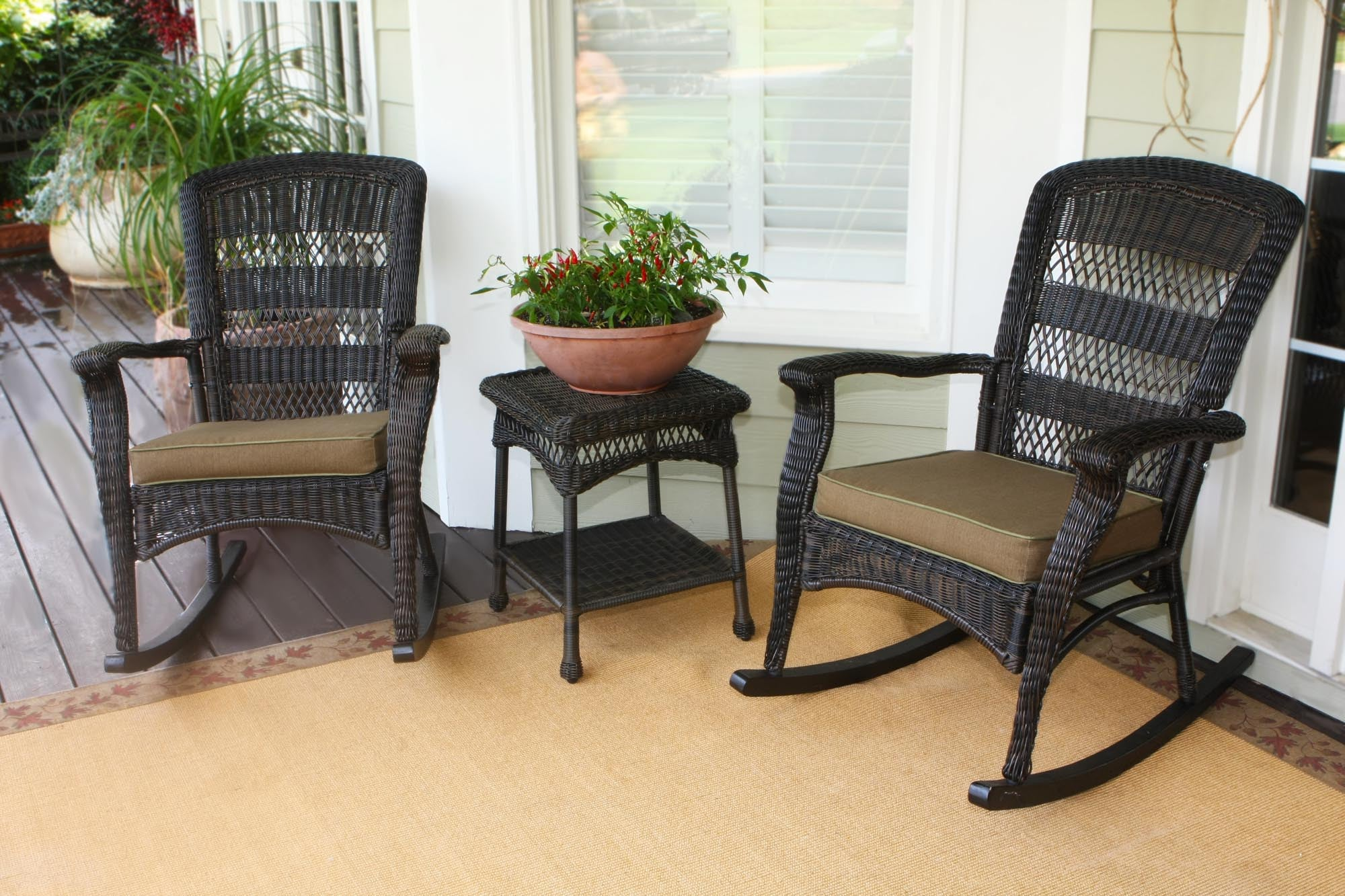 the portside plantation all weather wicker rocking chair set