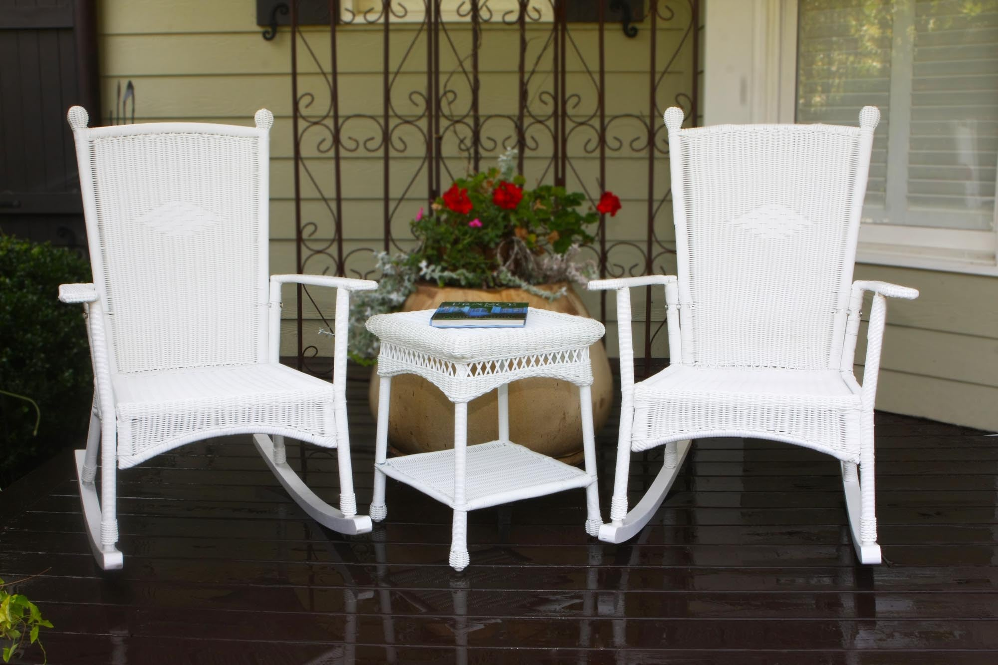 The Portside Classic All Weather Wicker Rocking Chair Set   Tortuga Outdoor  ...