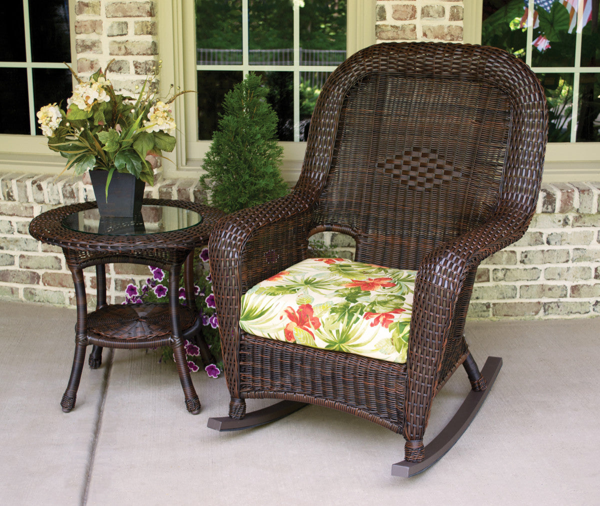 The Sea Pines All Weather Wicker Rocking Chair Table Bundle