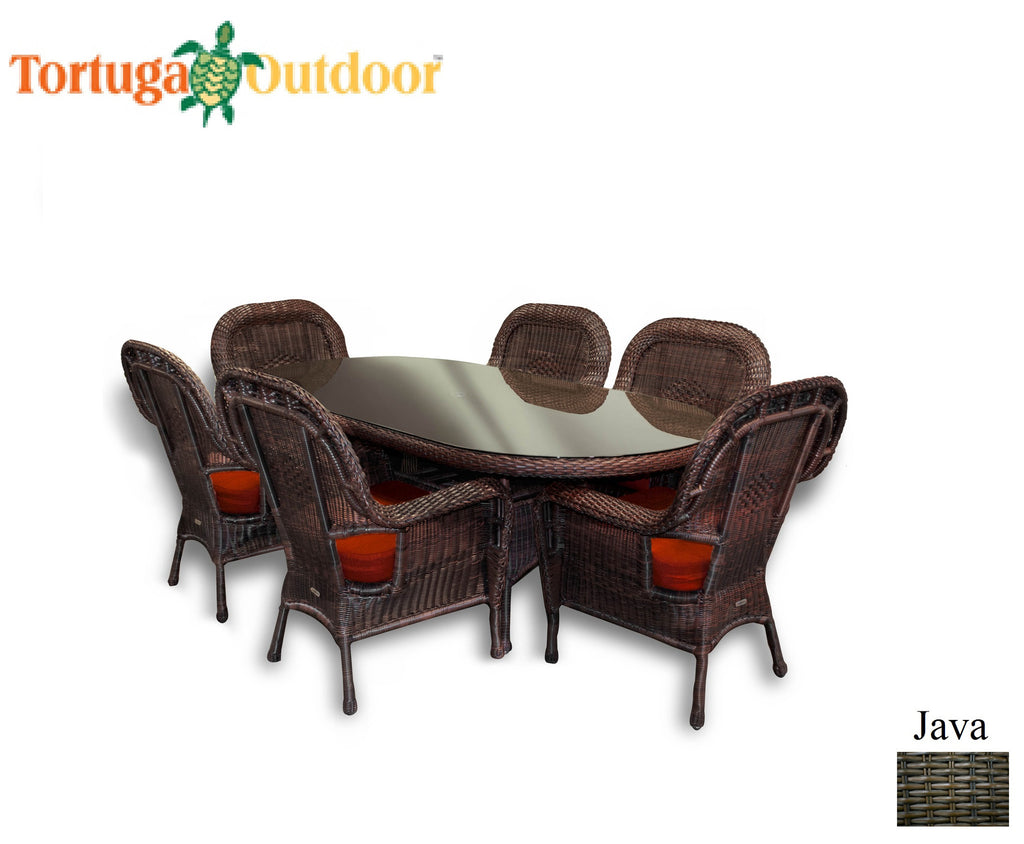 The Lexington 7 Piece All Weather Wicker Dining Set - Tortuga ...