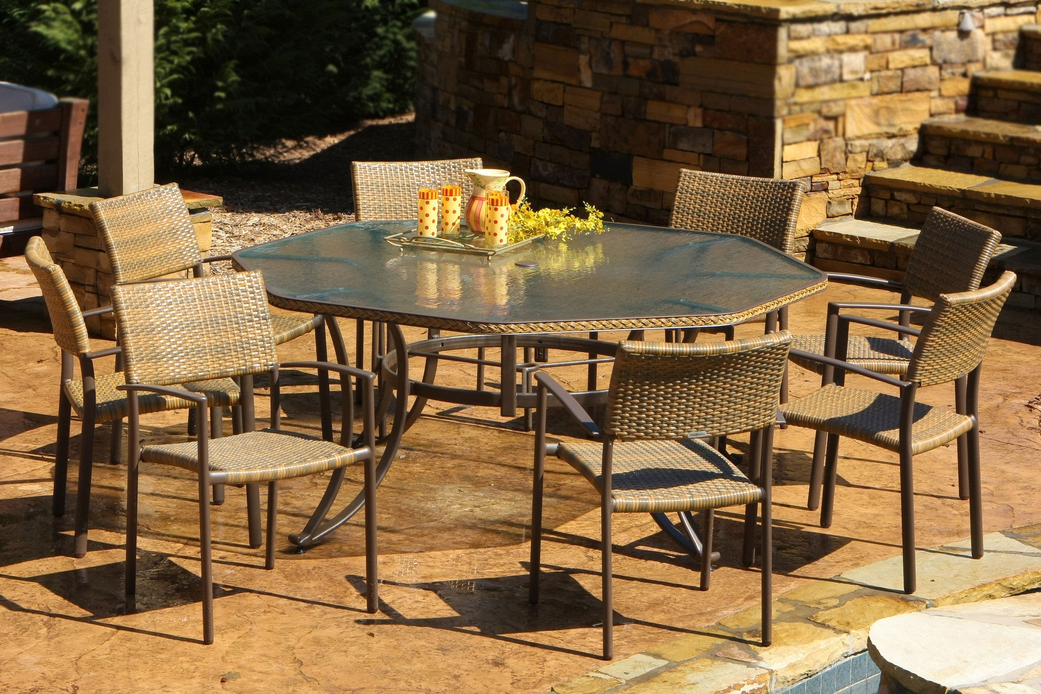 The Maracay All Weather Wicker 9 Piece Dining Set Tortuga
