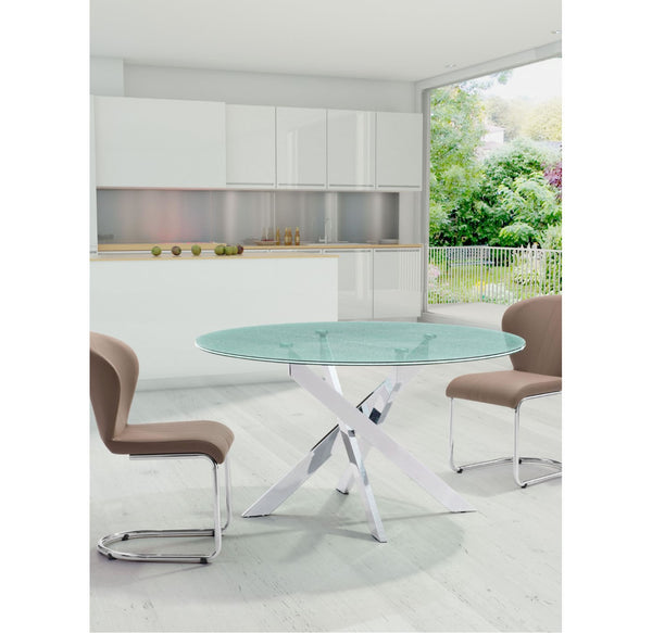 Stance Dining Table In Crackled Glass
