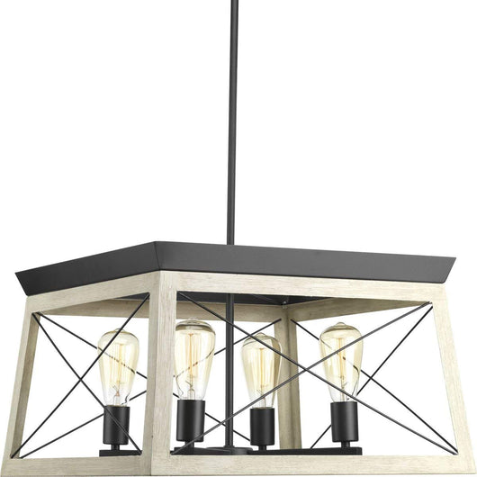 Progress Lighting P400047-143 Briarwood Graphite Four-Light Chandelier
