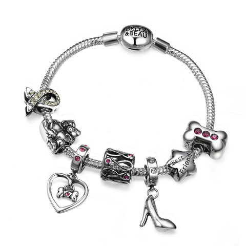 Smooth Metal Clasp Charm Bracelet