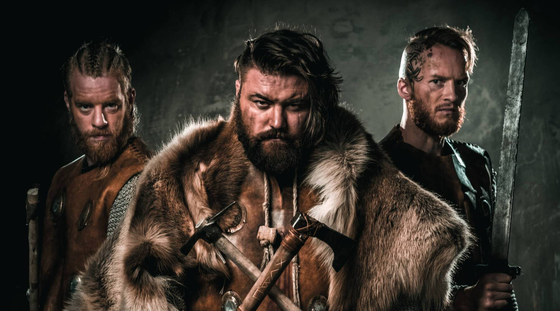 Three Vikings in different Vikings clothing