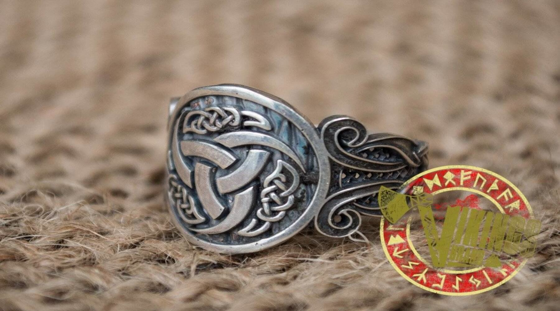 Viking ring with Odin's horn symbol