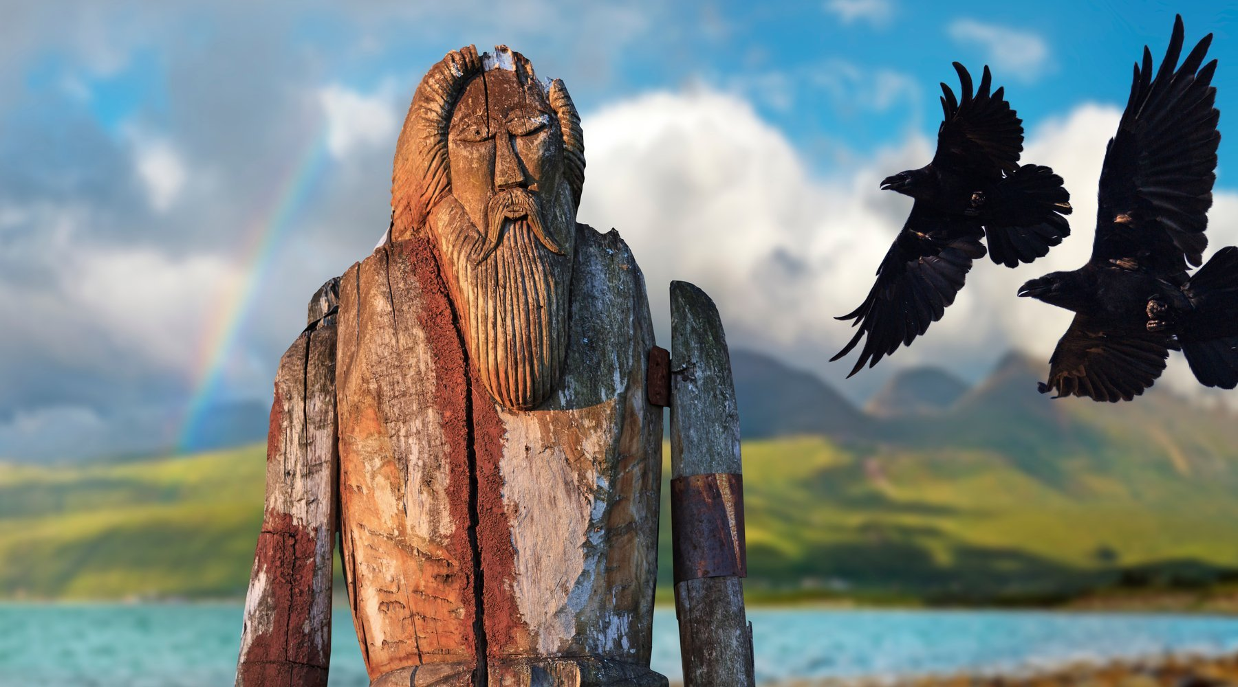 Wooden statue of Norse God
