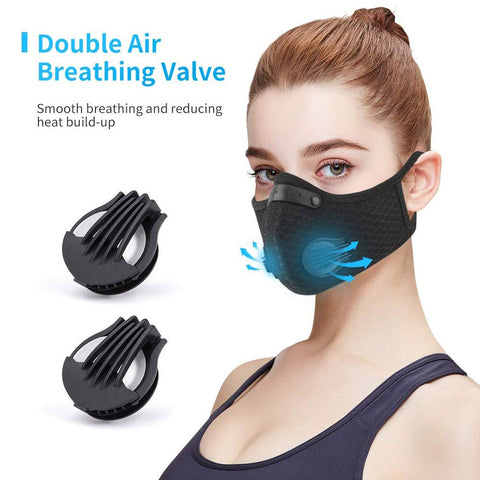 Dual respiration valves provide comfortable breathing by reducing heat and moisture build-up within the mask