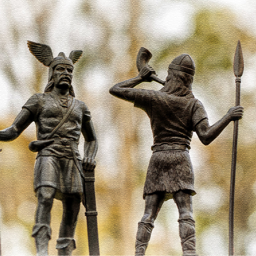 Old Norse God Odin and His Son Heimdallr With Horn and Spear