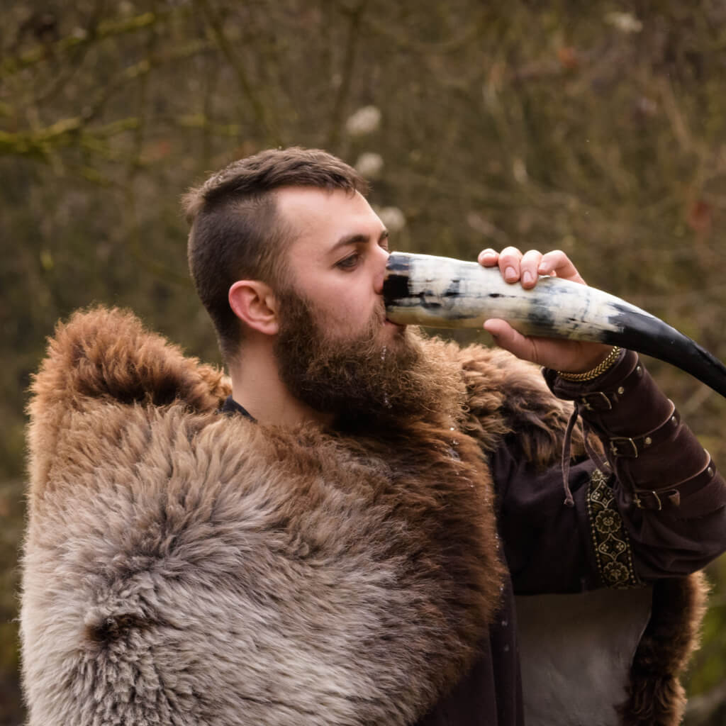 Viking drinks beer from a horn