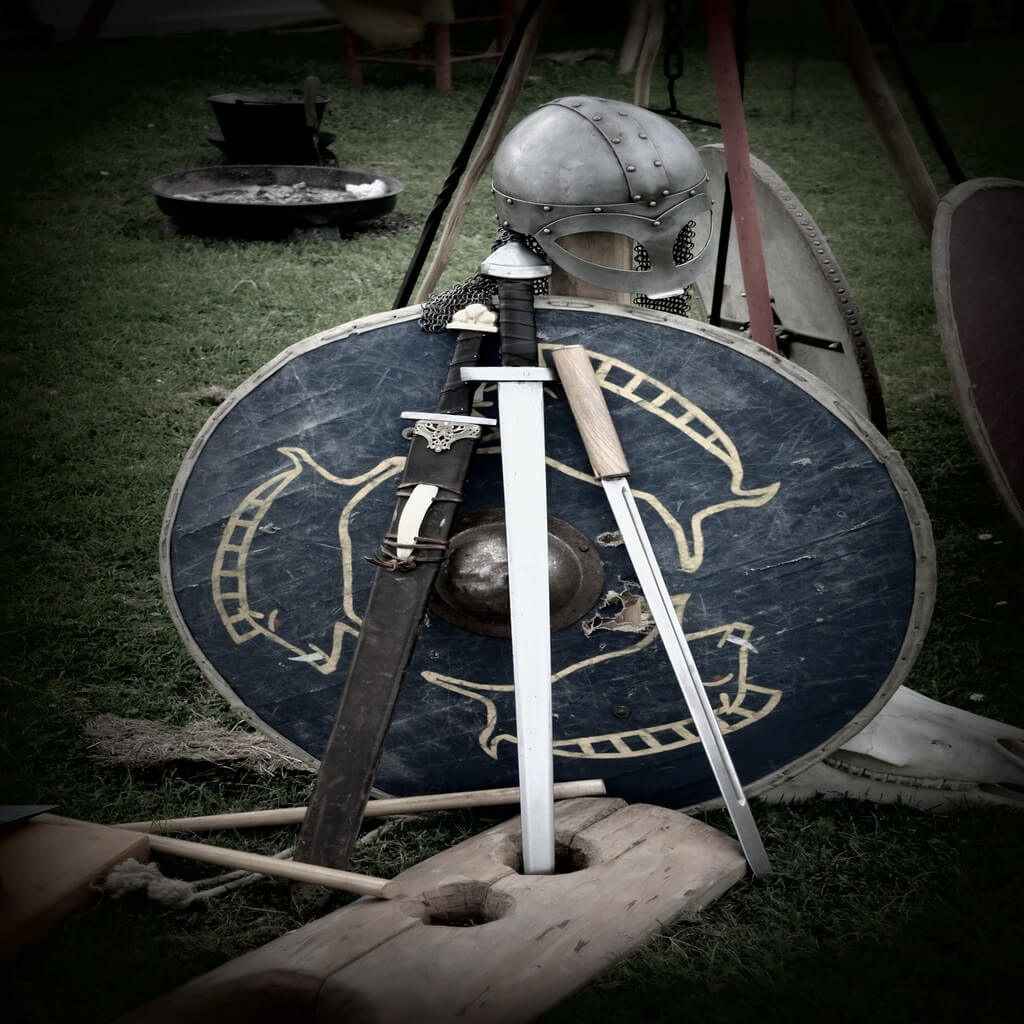 Viking shield and weapon