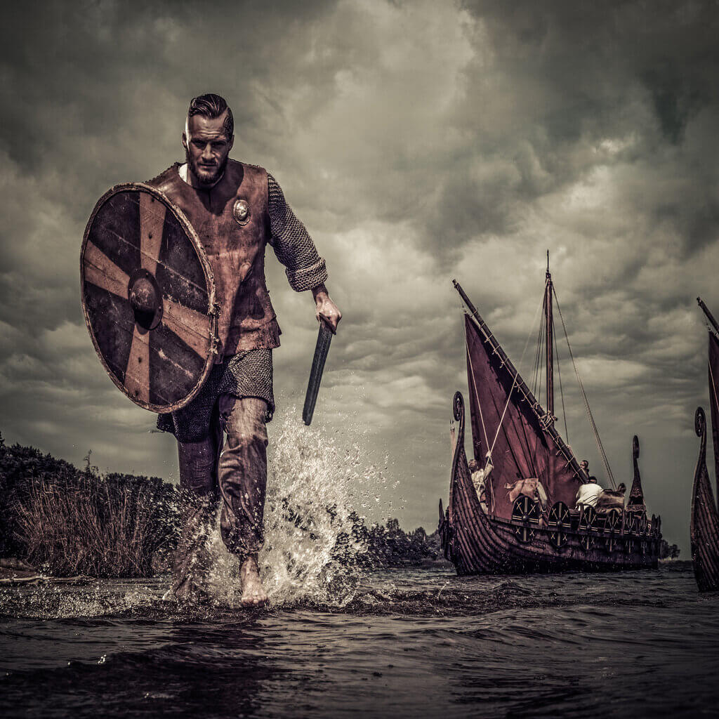 Viking warrior going to the battle
