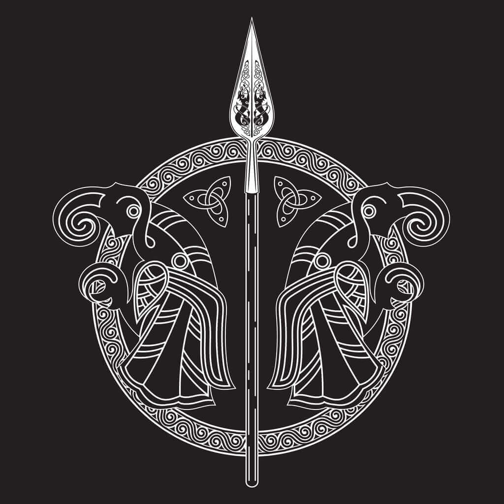 Gungnir - Norse Symbol Associated with Odin on Black Background