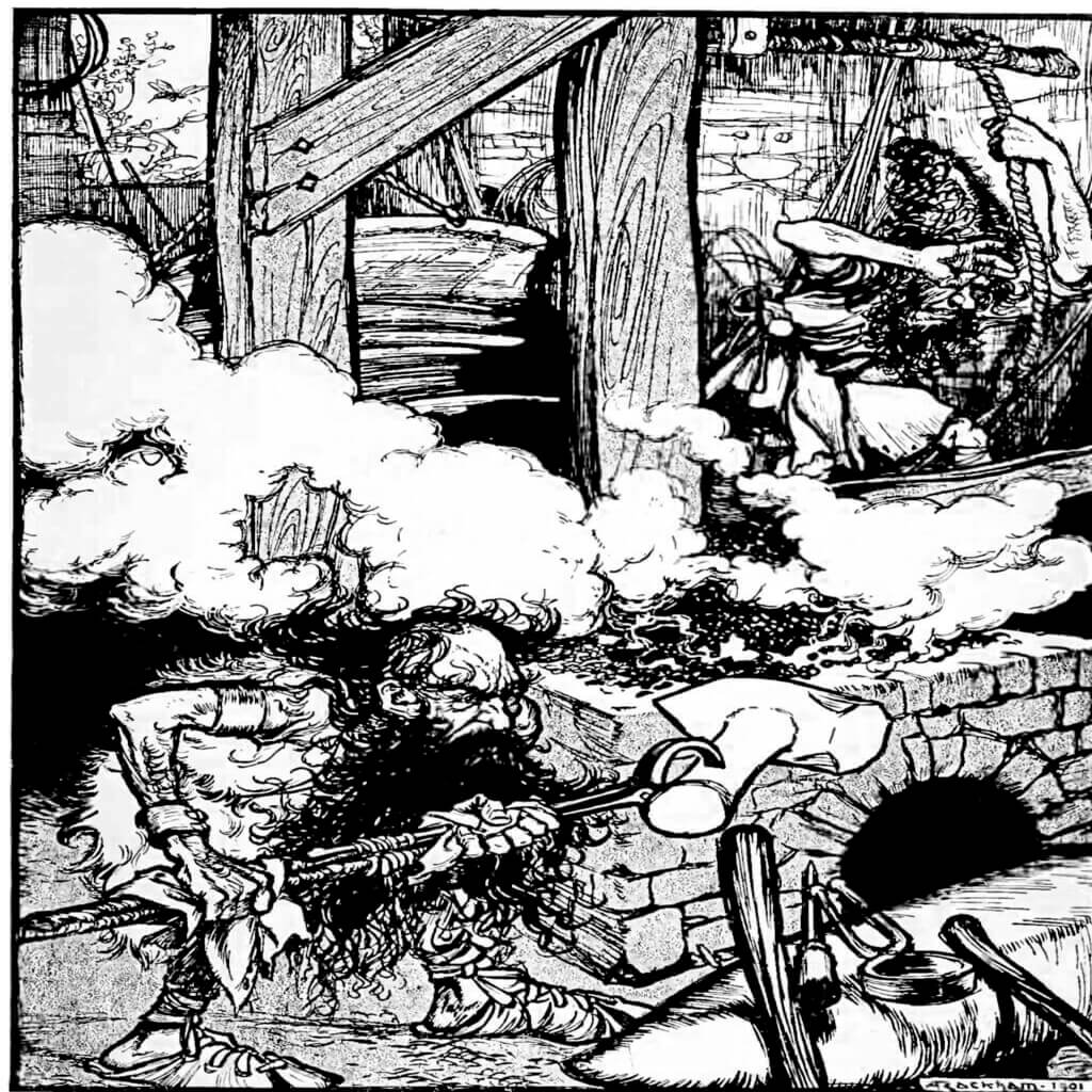 Black and white photo of Sindri and Brokkr working at the forge to create Mjolnir. A piece of art called Once again the buzzing fly came in at the window (1901) by Arthur Rackham