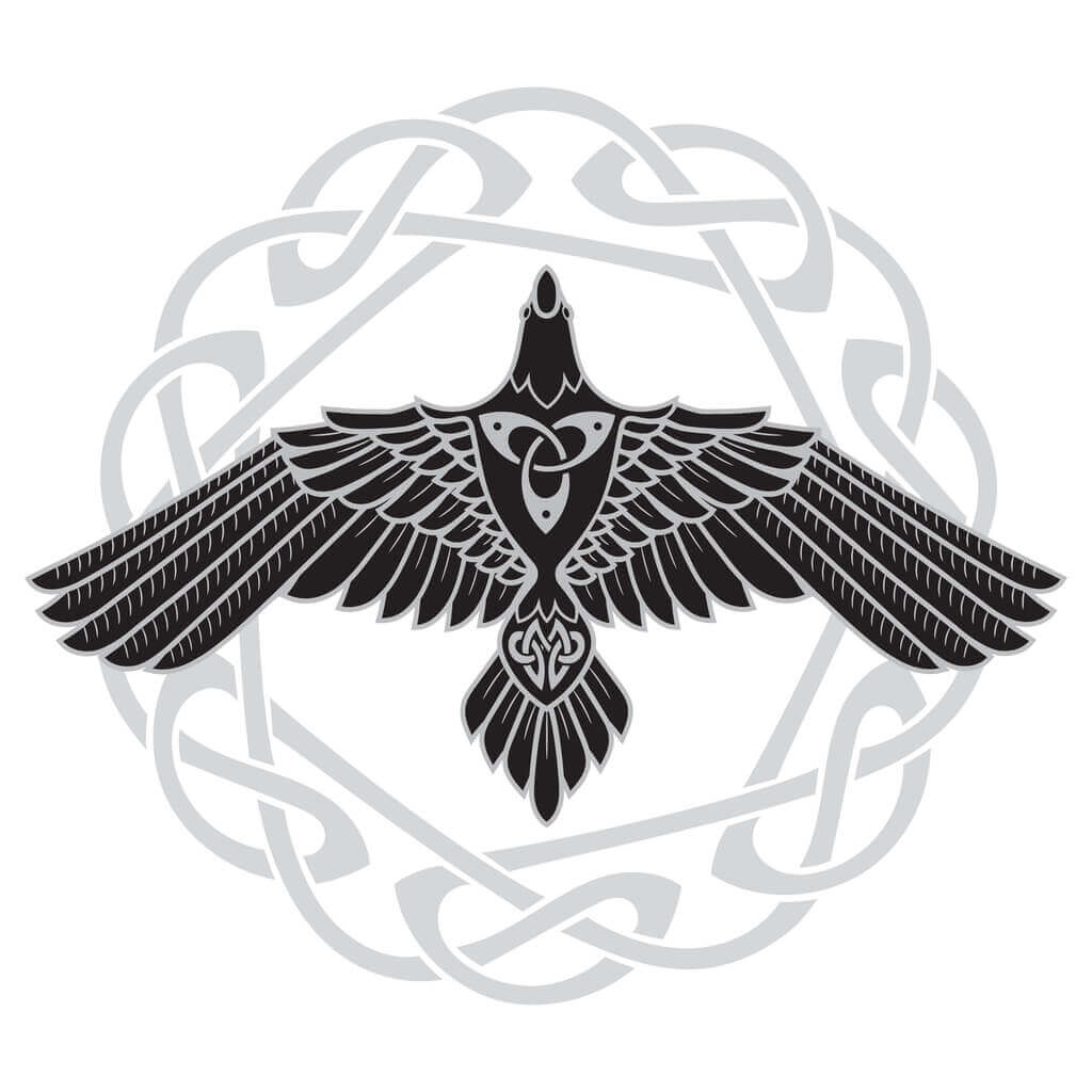 Raven - One of the Most Common Norse Symbols. Black and white.