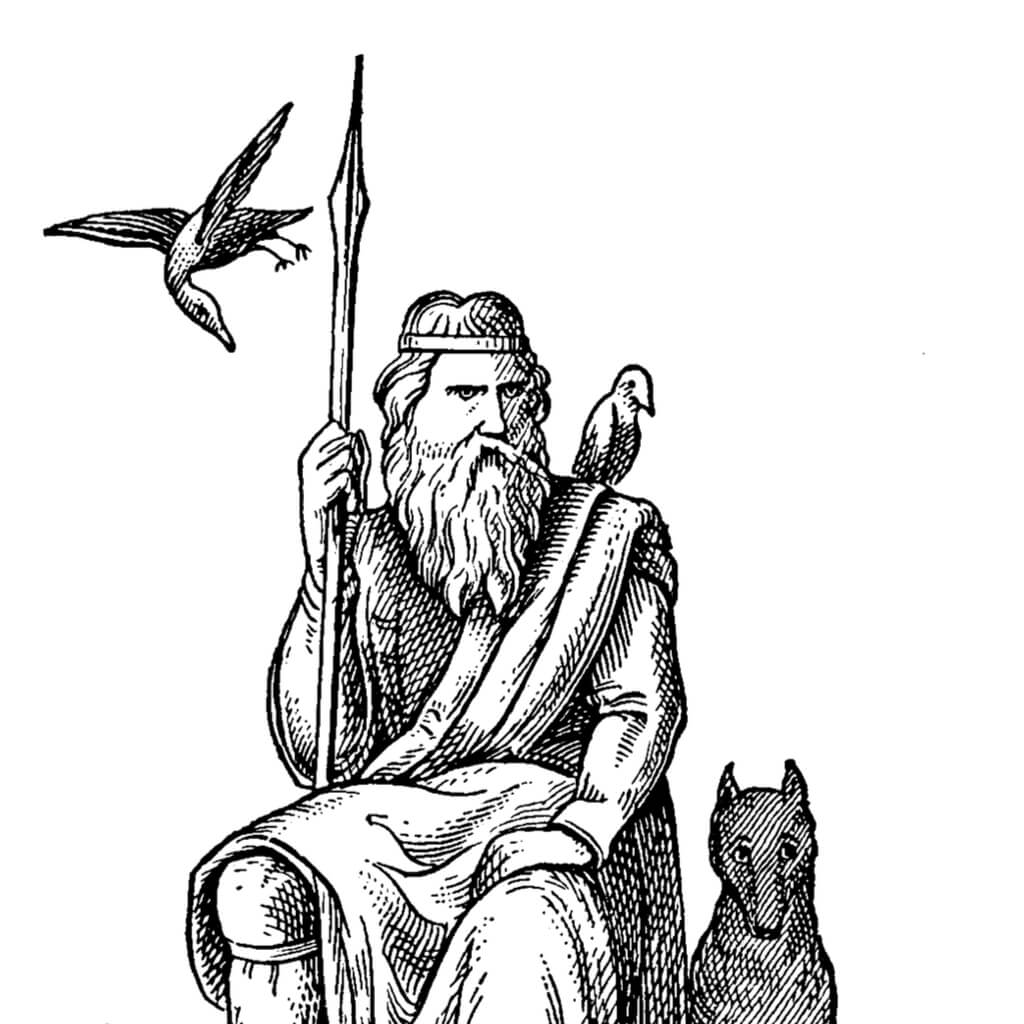 Black and white drawing of Odin holding his spear.