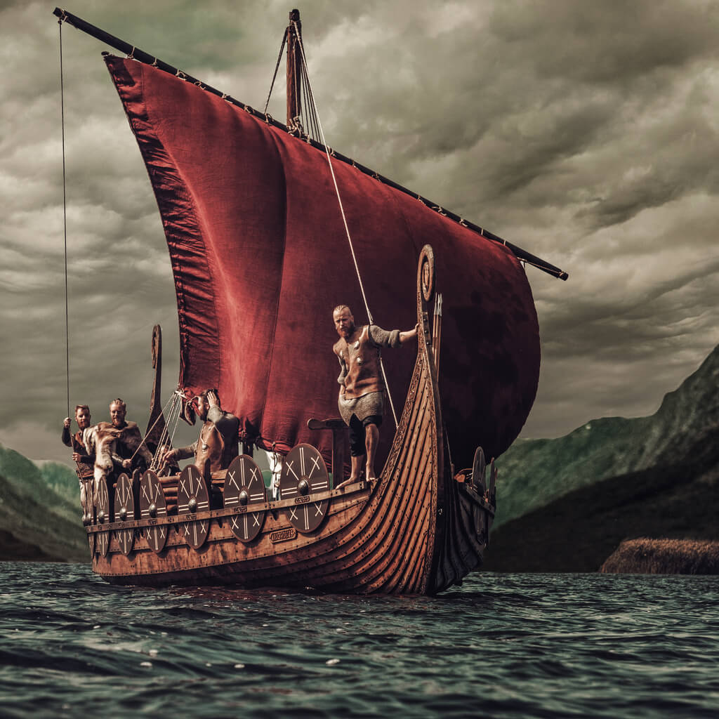 Viking ship with a crew