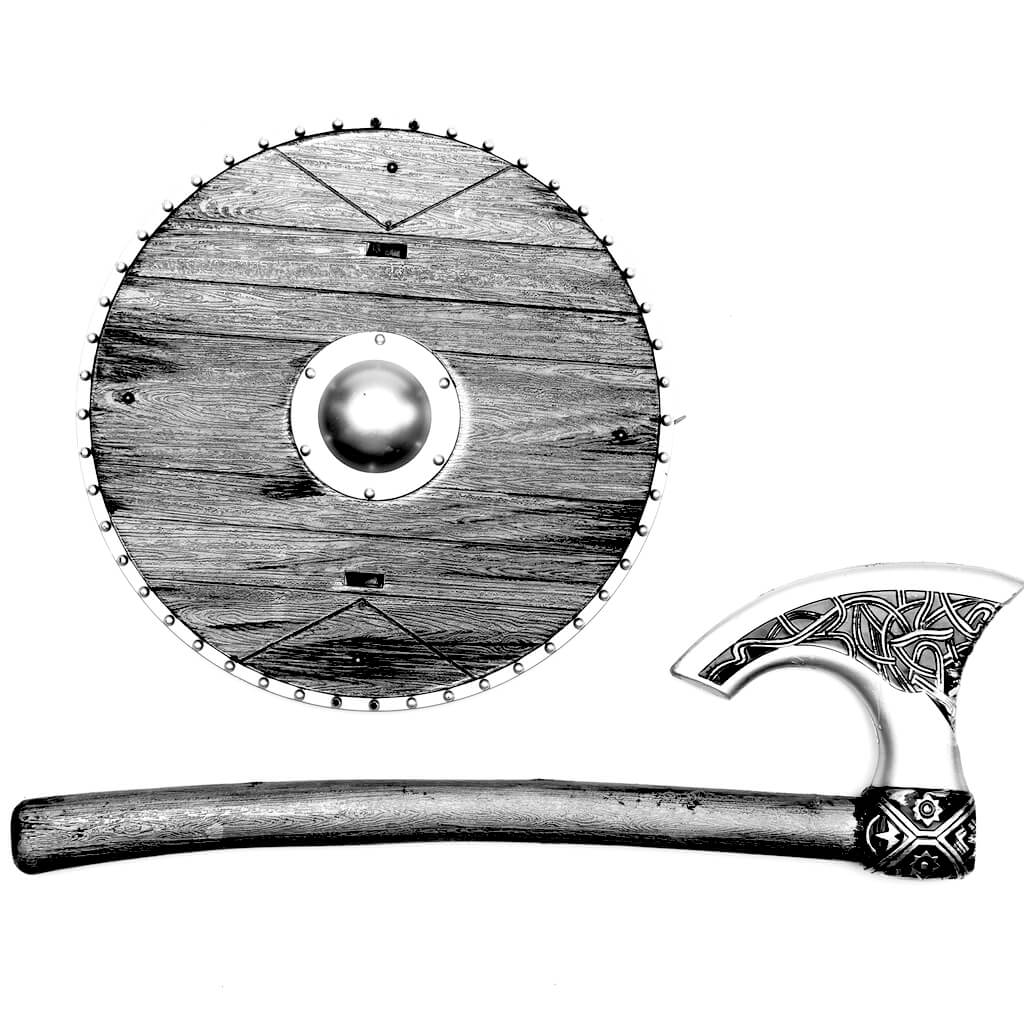 Viking shield and axe