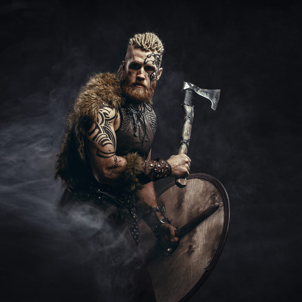 Viking warrior equipped with a shield and axe