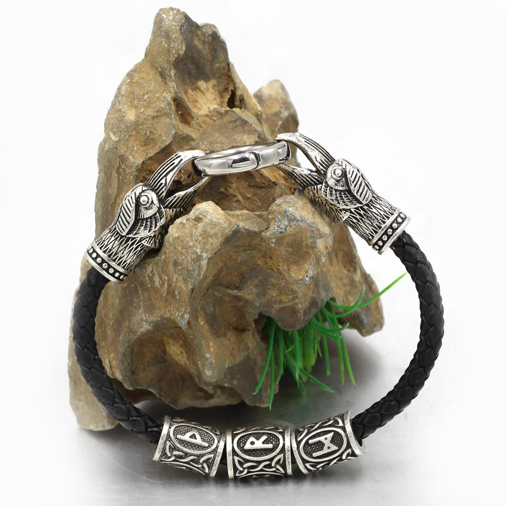 3 Rune Genuine Leather Raven Bracelet - VikingsBrand