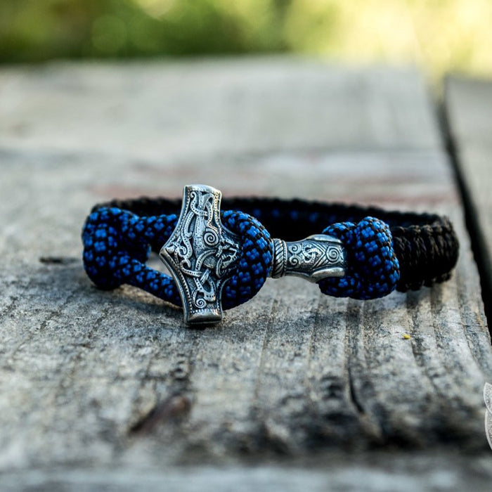 Thors Hammer Blue with Black Paracord 925 Sterling Silver Bracelet