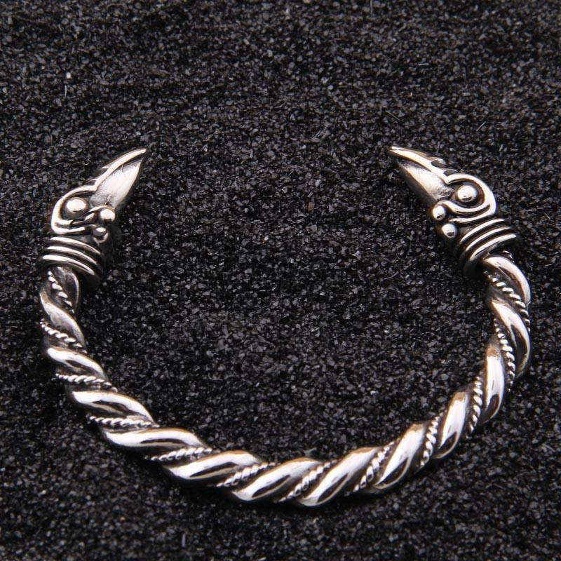 316L Stainless Steel Raven Bangle Bracelet - VikingsBrand