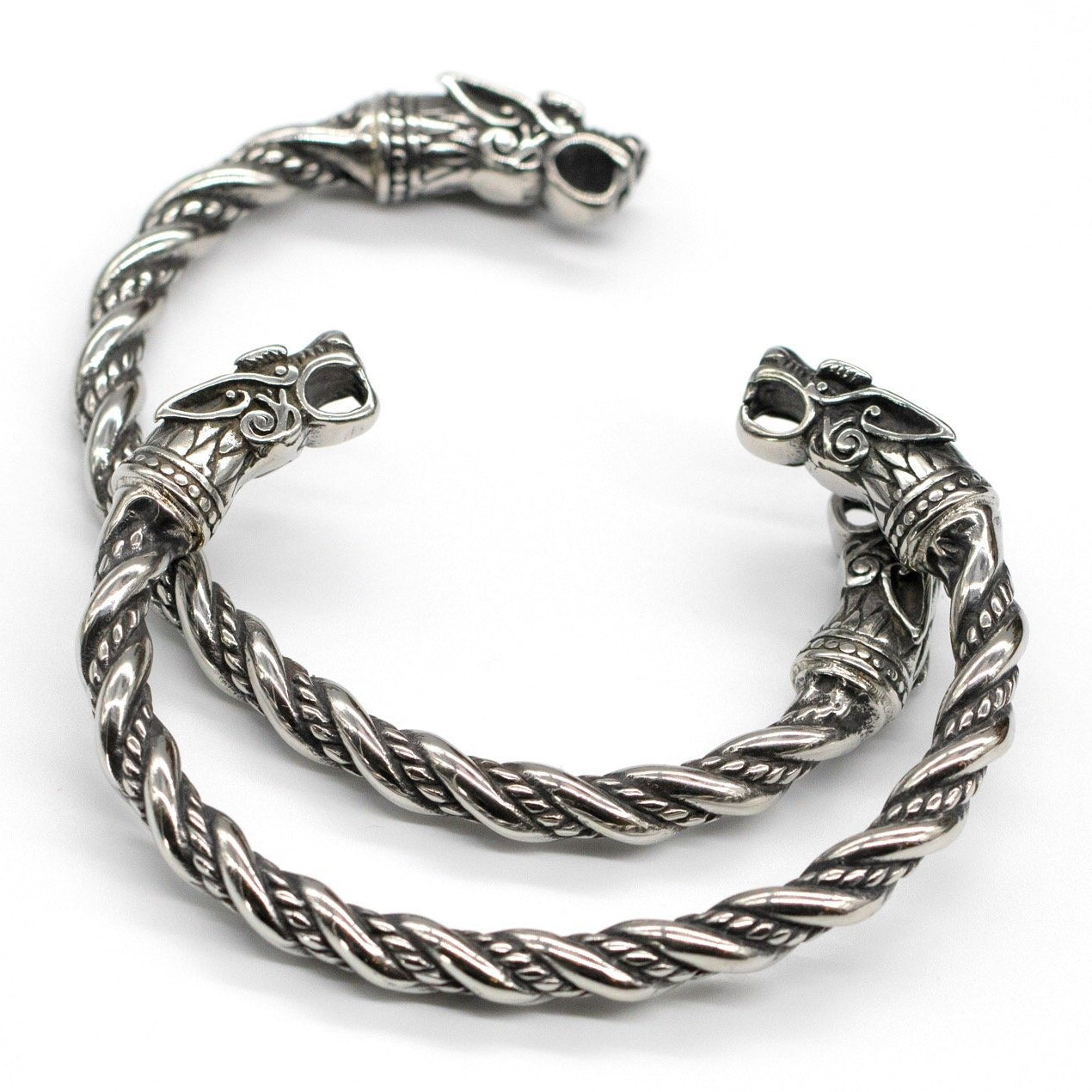 316L Stainless Steel Viking Fenrir Twisted Bangle Bracelet Arm Ring - VikingsBrand