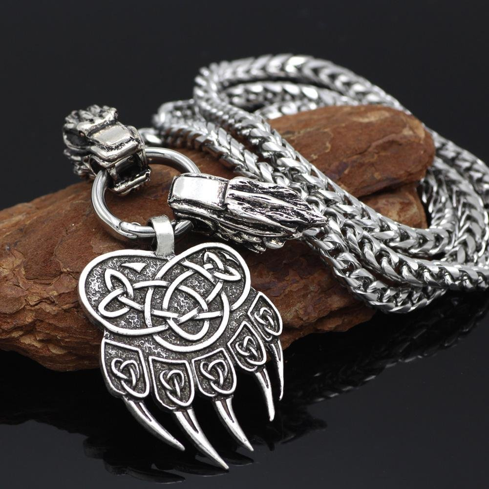 316L Stainless Steel Wolf Head Necklace with Bear Paw Pendant - VikingsBrand
