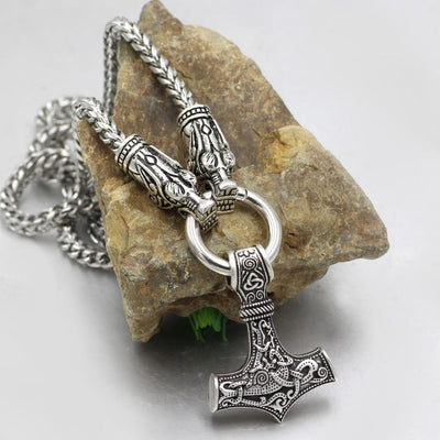 316L Stainless Steel Wolf Head Necklace with Thor's Hammer - VikingsBrand