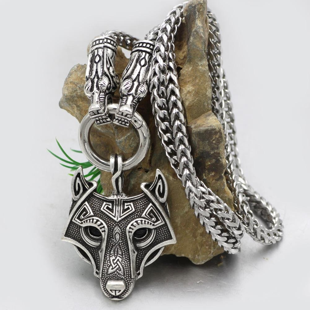 316L Stainless Steel Wolf Head Necklace with Wolf Head Pendant - VikingsBrand