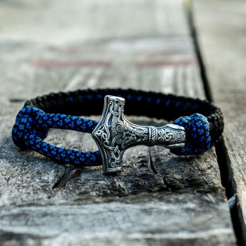 Thors Hammer Blue with Black Paracord 925 Sterling Silver Bracelet - VikingsBrand